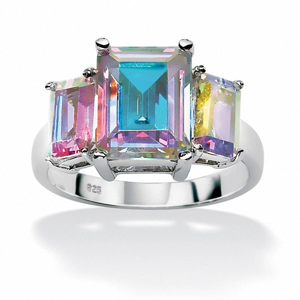 PalmBeach 5.60 TCW Emerald-Cut Aurora Borealis Cubic Zirconia Cocktail Ring in Sterling Silver Color Fun