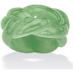 Angelina D'Andrea Solid Green Jade Braided Eternity Band