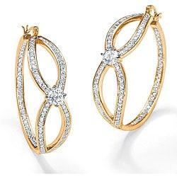 Palmbeach CZ Gold Overlay Clear Cubic Zirconia Hoop Earrings