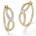 Ultimate CZ Gold Overlay Clear Cubic Zirconia Hoop Earrings