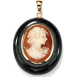 PalmBeach Oval-Shaped Genuine Onxy and Genuine Shell Cameo 10k Yellow Gold Drop Pendant Naturalist