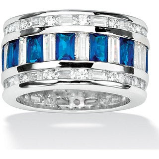 PalmBeach Silvertone Clear Cubic Zirconia and Blue Glass Band Color Fun