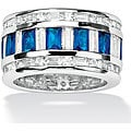 Lillith Star Silvertone Clear Cubic Zirconia and Blue Glass Band