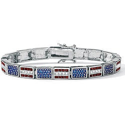 Lillith Star Silvertone and Resin Red and White Crystal Patriotic Flag Bracelet