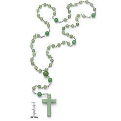 PalmBeach D'Andrea Silvertone Green Agate Rosary Necklace Naturalist