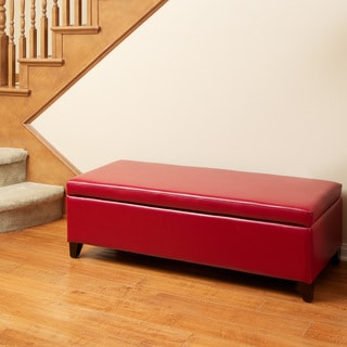 Christopher Knight Home York Red Bonded Leather Storage Ottoman