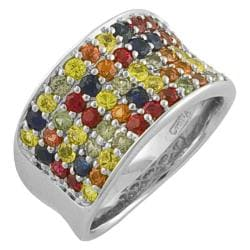 Sterling Silver Multi-colored Sapphire Pave Ring