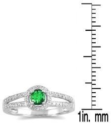 10k White Gold Emerald and 1/4ct TDW Diamond Ring (H-I, I1-I2)
