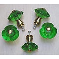 Satin Brass 3-petal Emerald Green Glass Knobs (Pack of 5)