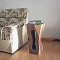 Wood White Natural Oil-finished Squeezed Rectangle Stool (Thailand)