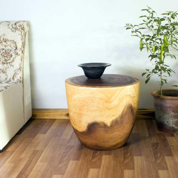 Monkey Pod Wood Oak Oil-finished Oval Drum End Table (Thailand)