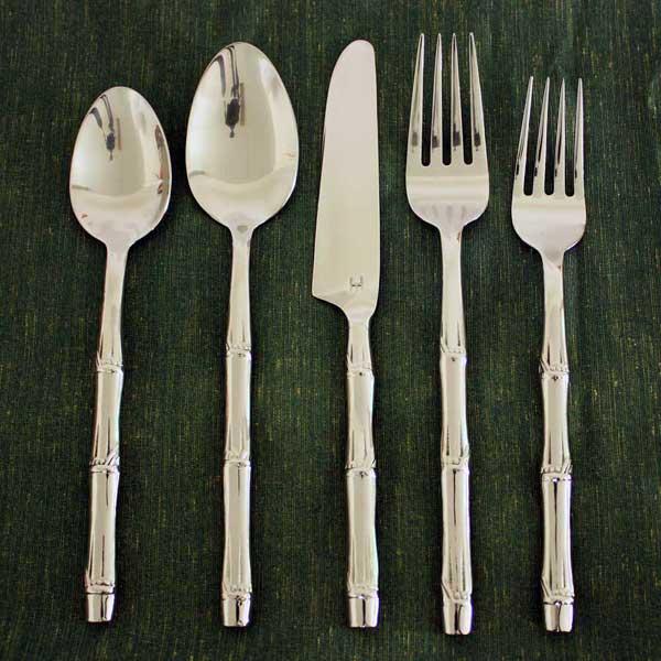 Stainless steel bamboo flattened 20 piece flatware set thailand 13126647 - Thailand silverware ...