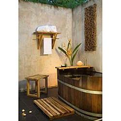 Teak wood Hand-doweled Teak Oil-finished Spa Stool (Thailand)