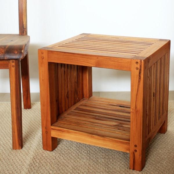 Teak Wood Tung Oil-finished Slat Shelf End Table (Thailand)