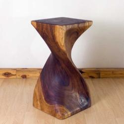 Monkey Pod Wood Walnut Oil-finished Single Twist Stool (Thailand)
