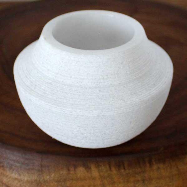White Marble Rough Votive Vase (Thailand)