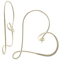 Goldfill and Alloy Heart Hoop Earrings