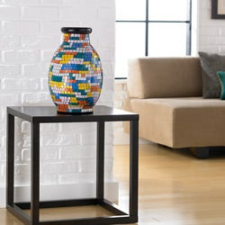 Glass Painter's Palette Mosaic Decorative Vase (Indonesia)