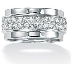 PalmBeach CZ Sterling Silver Round Clear Cubic Zirconia Eternity Band Classic CZ