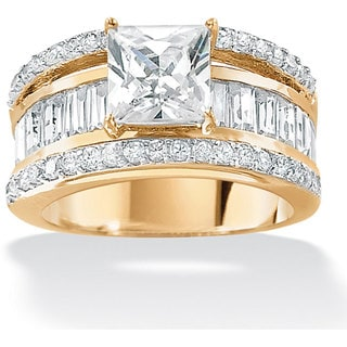 PalmBeach CZ 18k Gold over Sterling Silver Cubic Zirconia Ring Glam CZ