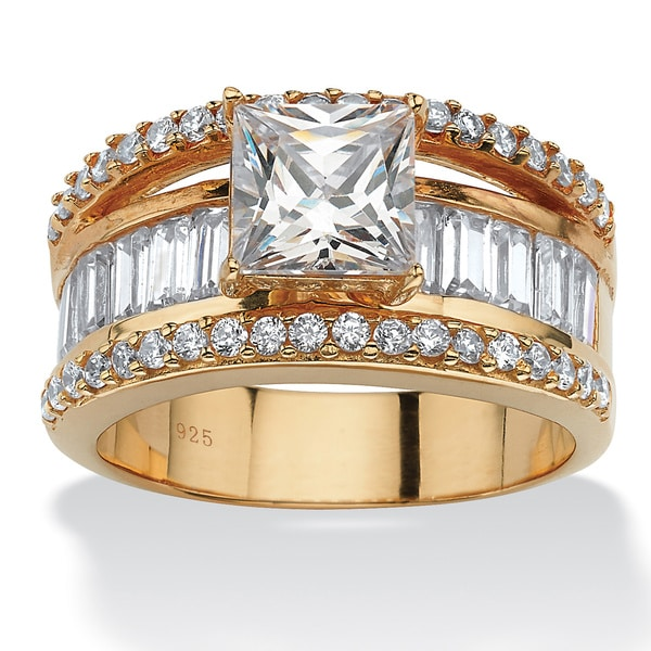 PalmBeach 3.63 TCW Emerald-Cut Cubic Zirconia 18k Gold over Sterling Silver Engagement/Anniversary Ring Glam CZ