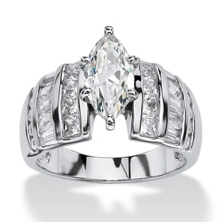 PalmBeach 3.87 TCW Marquise-Cut Cubic Zirconia Engagement Anniversary Ring in Platinum over Sterling Silver Glam CZ