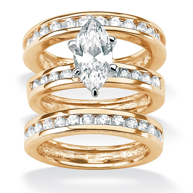 PalmBeach CZ 18k Gold over Sterling Silver Clear Cubic Zirconia 3-piece Ring Set Classic CZ