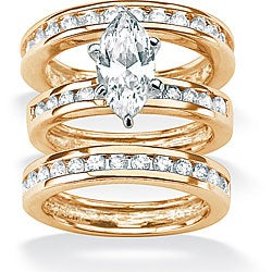 Ultimate CZ 18k Gold over Sterling Silver Clear Cubic Zirconia 3-piece Ring Set