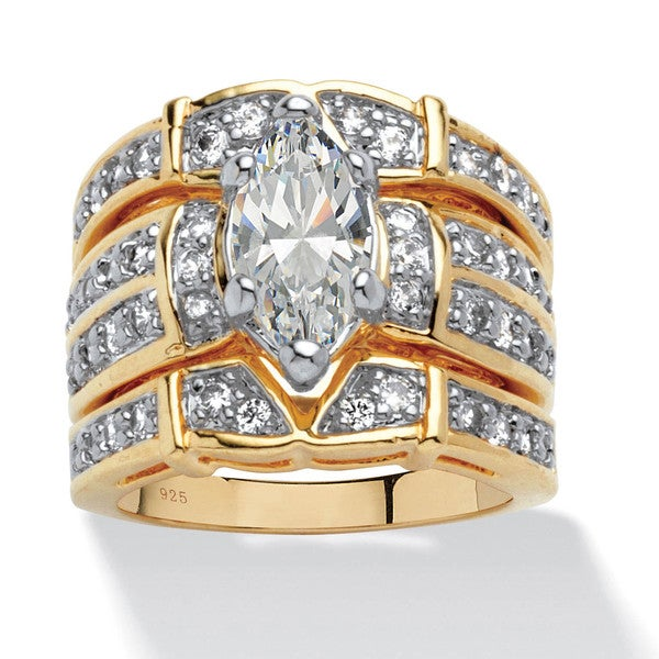 PalmBeach CZ 18k Gold over Silver Cubic Zirconia Wide Ring Glam CZ