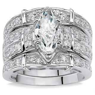 PalmBeach CZ Sterling Silver Cubic Zirconia Wide Ring Glam CZ