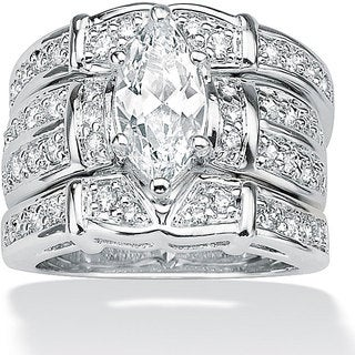 PalmBeach CZ Sterling Silver Cubic Zirconia Wide Ring Glam CZ