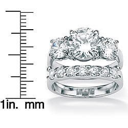 Ultimate CZ Gold over Silver Cubic Zirconia 2-piece Ring Set