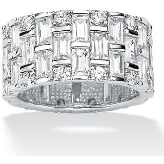 Ultimate CZ Gold over Silver Cubic Zirconia Eternity Ring