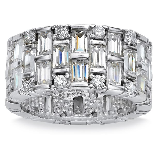 PalmBeach 5.12 TCW Baguette Cubic Zirconia Eternity Band in Platinum over Sterling Silver Glam CZ