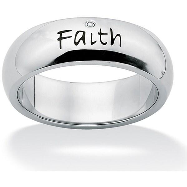 Neno Buscotti Stainless Steel Cubic Zirconia Faith Ring