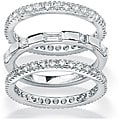 Ultimate CZ Gold over Silver Stackable Cubic Zirconia 3-piece Eternity Ring Set