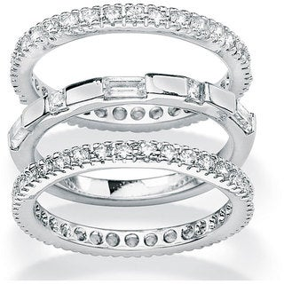 PalmBeach CZ Gold over Silver Stackable Cubic Zirconia 3-piece Eternity Ring Set Classic CZ
