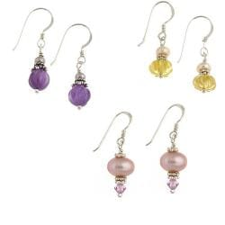 Misha Curtis Silver Pastel Pearl/ Gemstone Earrings (10 mm) (Se