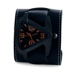 Nemesis Men's Ion-Plated Oversized Black / Orange Leather Cuff Watch