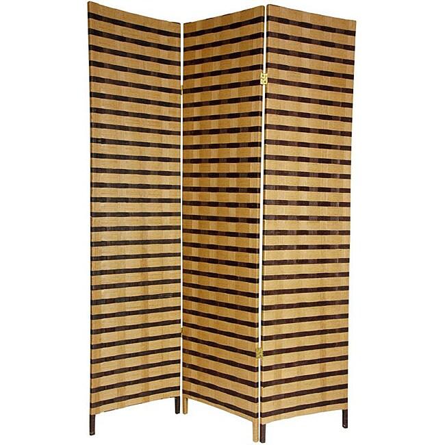 Three-Panel 6-Foot Two-Tone Natural Fiber Room Divider (China)