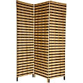 Four-Panel 6-Foot Tall Two Tone Natural Fiber Room Divider (China)