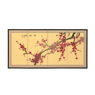 Silk and Wood 18-inch Plum Blossom Wall Hanging (China)