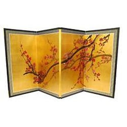 Silk and Wood 24-inch Plum Tree on Gold Leaf Wall Hanging (China)