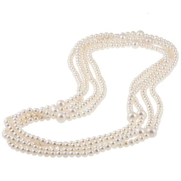 Miadora White Cultured Freshwater Pearl 100-inch Endless Necklace (5-10 mm)