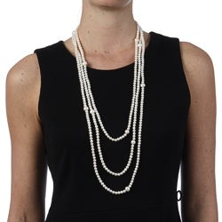 Miadora White FW Pearl 100-inch Endless Necklace (5-10 mm)