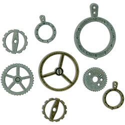 7 Gypsies Industrial Metal Gears 14-piece Charm Set