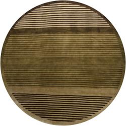 Hand-knotted Mandara Green Stripes Wool Rug (7'9 Round)
