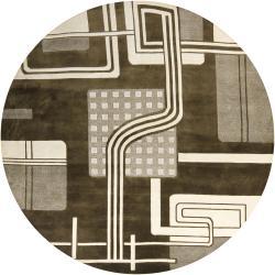 Hand-knotted Mandara Green Geometric Wool Rug (7'9 Round)