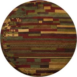 Hand-knotted Mandara Multi Blocks Wool Rug (7'9 Round)