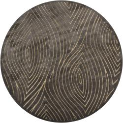 Hand-tufted Mandara Grey Geometric Wool Rug (7'9 Round)